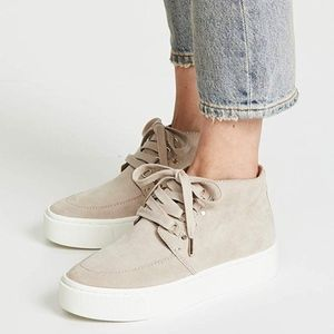 Joie Hillerson Taupe/Nude High top suede sneakers